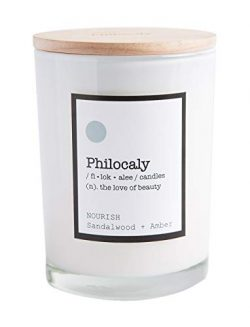 Philocaly Scented Candle, Nourish, Sandlewood + Amber, 9.5oz, Soy Wax