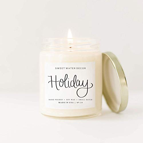 Holiday Natural Soy Wax Candle Glass Jar Scented Citrus Cloves Pine Cones Oakmoss Sandalwood Chr ...