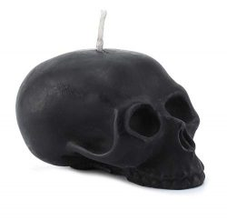 Darware Large Skull Shaped Candle (Black); 4.75 x 3-Inch Decorative Themed Candles for Halloween ...