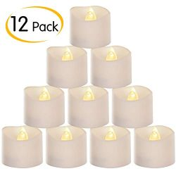 12 Pack Flameless LED Votive Tea Light Candles, Flickering Realistic Electric Candles Battery Op ...