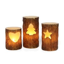 Flameless Christmas Candle with Timer Function, Battery Operated Pillar Candles with Birch Effec ...