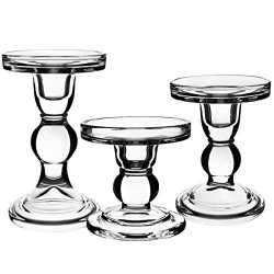 Centanni Essentials Clear Glass Candle Holders Set of 3 for Pillar Taper & Tealight Candles, ...