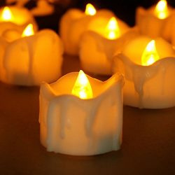 Youngerbaby Set of 12 Amber Yellow Flickering Flameless Candles with Timer LED Tea Light Timing  ...