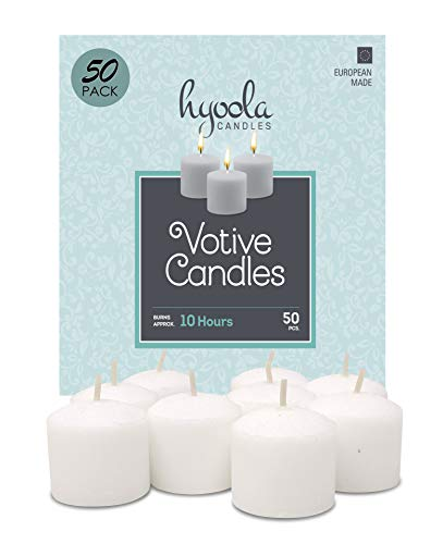HYOOLA European Votive Candles Unscented – 10-Hour Burn Time – White – 50 Pack ...