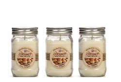Hosley Set of 3 Coconut Scented Mason Jar Candle 11 Ounces Each Ideal Gift for Party Favors and  ...