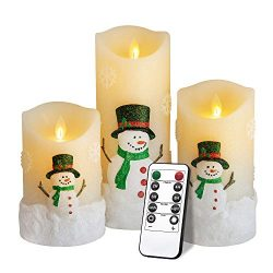 Yinuo Mirror Snowman LED Flameless Candles Battery Operated Pillar Candle Moving Effect Flickeri ...