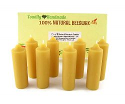 Eight (8) Hand Poured Solid Beeswax Candles in Natural – Each Candle Measures Approximatel ...