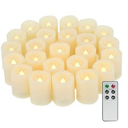24 Pack Flameless Votive Candles with Remote Timer Small White Flickering Battery Operated LED C ...
