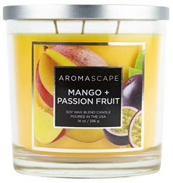 Aromascape 3-Wick Scented Jar Candle, Mango & Passion Fruit