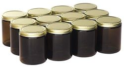 North Mountain Supply 9 Ounce Amber Glass Straight Sided Mason Canning Jars – with 70mm Go ...