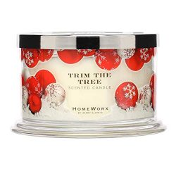 HomeWorx by Harry Slatkin 4 Wick Candle, 18 oz, Trim the Tree – HMXC18-AZ-TT