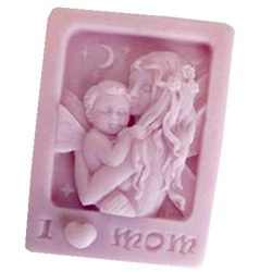 GreatMold DIY I Love Mom 3D Silicone Handmade Soap Mold Candle Molds Cake Decoration Mold Mother ...