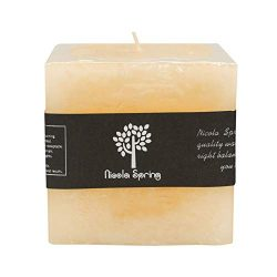 Nicola Spring Vanilla Scented Single Wick Square Candle 100x100x100mm. 120hrs Burning Time