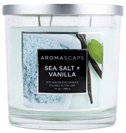 Aromascape 3-Wick Scented Jar Candle, Sea Salt & Vanilla
