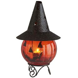 Blissun Glass Pumpkin Tea Light Candle Holder for Halloween Decorations