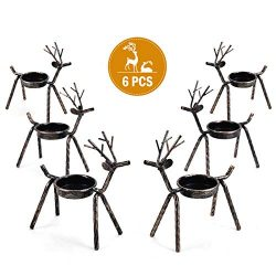 Rocinha Reindeer Candle Holder, Set of 6 Tea Candles Holders Holiday Candlestick Christmas Decor ...