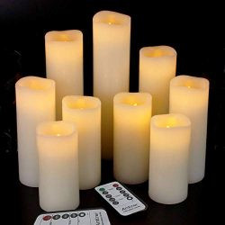Antizer Flameless Candles Led Candles Pack of 9 (H 4″ 5″ 6″ 7″ 8″  ...