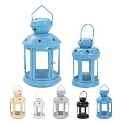 Nicola Spring Candle Lanterns Tealight Holders Vintage Metal Hanging Indoor Outdoor – Blue ...