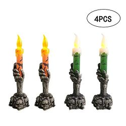 Halloween Candle Light, Flameless Candle Lighted Lamp, 4 PCS Battery Operated LED Candle Light f ...