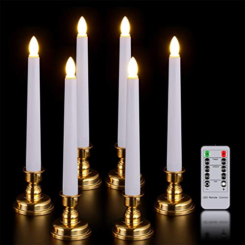 Window Candles with Remote Timer, PChero 6 Packs Battery Operated Warm White LED Flameless Taper ...
