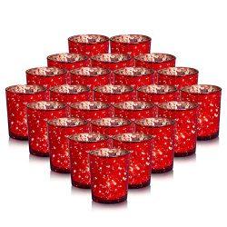 24-Pack Mercury Votive Candle Holders Bulk, Speckled Red Mercury Candle Holders Perfect Decor fo ...