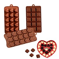 Bozoa Silicone Chocolate Mold – Rose Flower/Love Heart/Gift Boxes for Valentine's Da ...