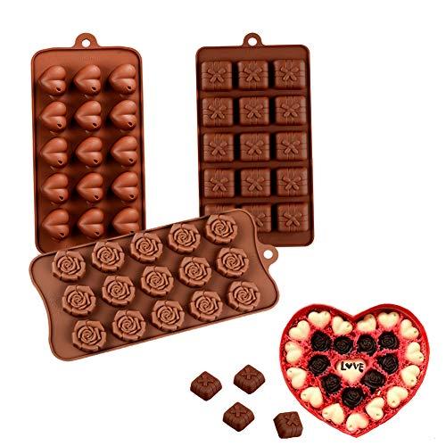 Bozoa Silicone Chocolate Mold – Rose Flower/Love Heart/Gift Boxes for Valentine's Da ...