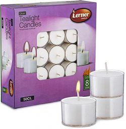 Lerner Tea Light Candles in Clear Holder Cups Bulk 50 Set. Long Burning 8hr, Unscented, for Mood ...
