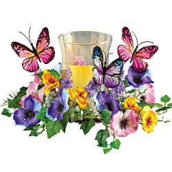 Collections Etc Faux Floral Candle Holder with Butterflies – Spring Tabletop Decor for Any ...