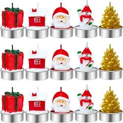 Jetec 15 Pieces Christmas Candles Santa Snowman Pine Cone Gift House Candles for Home Party Hall ...