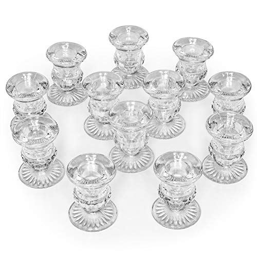 Letine Candlestick Holders Set of 12-2.5″ H Taper Candle Holders Bulk – Clear Glass  ...