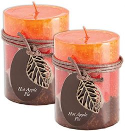 Fall Scented Candles Set Bundle of 2 Decorative Layered Pillar Candles 3 x 4 Inches (2 Pack Hot  ...