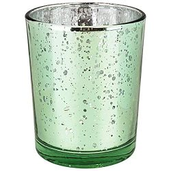 Just Artifacts Mercury Glass Votive Candle Holder 2.75-Inch (1pc, Speckled Mint) -Mercury Glass  ...