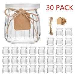 Glass Jars,Encheng 7 oz Glass Yogurt Jars With Lids(PE),Replacement Glass Pudding Jars With Plas ...