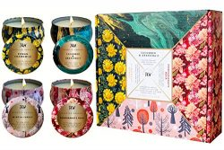 Scented Candles Gift Set of 4 – Gifts for Women – Soy Wax Portable Travel Tin Candle ...