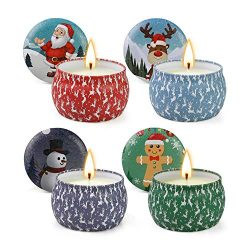 CREASHINE Christmas Candles, Scented Candles Gift Set, 100% Soy Wax Portable Travel Tin Candles, ...
