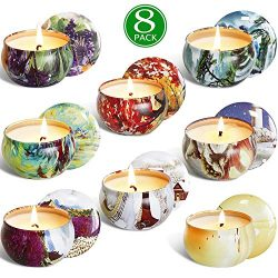 XYUT 2.5 Oz Pure Soy Wax Travel Tin Scented Candle Set, Lead-Free Wick, Aromatherapy Candles Lem ...