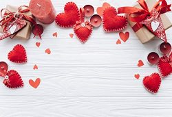 Leyiyi Handmade Red Hearts Backdrop 5x3ft Photography Background Gifts Candles Rustic Valentine& ...