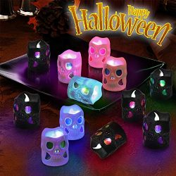 Litake LED Halloween Lights, Battery Operated 3D Halloween Skeleton Candle Lights, Flickering Co ...