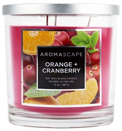 Aromascape 3-Wick Scented Jar Candle, Orange & Cranberry
