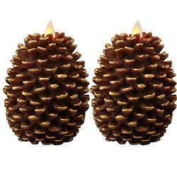 Eldnacele LED Pine Cone Candles Moving Wick, Battery Operated Flameless Candles with Timer Unsce ...