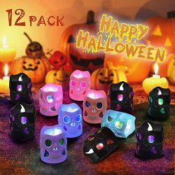 LUNSY Halloween Skull Candles 12Pack, Halloween Decorations, 3D Skeleton Shape, Flameless, Unsce ...