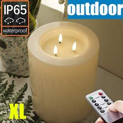 OUTDOOR XL 6″ x 8″ Large Flameless Candles with Remote .Rainproof Waterproof . LED B ...