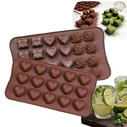 HomyPlaza Silicone Heart Rose Flower Silicone Chocolate Candles Cake Baking Mold Ice Cubes Tray  ...