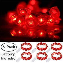 Ehome Heart Shaped String Lights, 6 Pack Valentines Day Decorations Lights, 7.2 ft 20 LEDs Fairy ...
