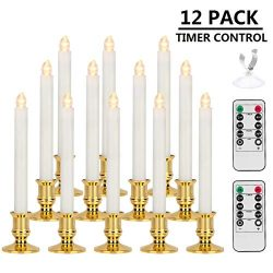 Window Candles, MAOYUE LED Candles with Timer Christmas Flameless Candles Battery Operated Flick ...