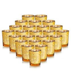24-Pack Mercury Votive Candle Holders Bulk, Speckled Gold Mercury Candle Holders Perfect Decor f ...