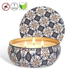 YIHANG Citronella Candle Scented Soy Wax 3 Wick Tin, 75 Hour Burn, Outdoor and Indoor