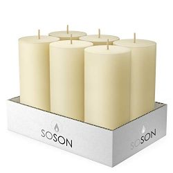 Simply Soson 3 x 6 Inch Ivory Unscented Pillar Candle Bulk Set – Dripless, Scent Free Para ...