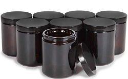 Vivaplex, Amber, 8 ounce, Round Glass Jars, with Black Lids – 8 pack